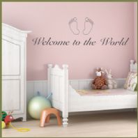 Baby Wall Sticker Welcome to the World Nursery Art  decals
